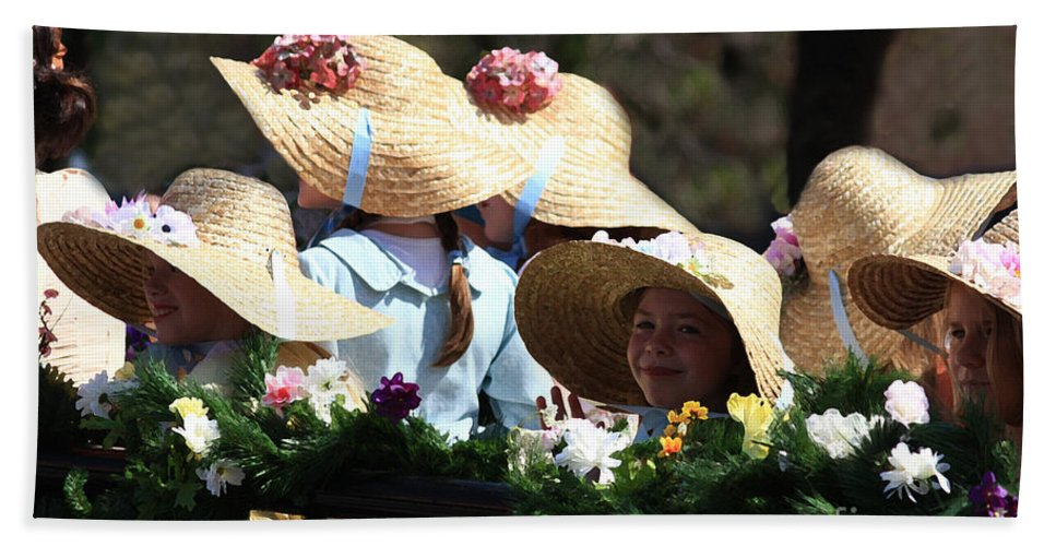 Parades Beach Towel featuring the photograph Pretty Little Flower Girls by Kim Henderson