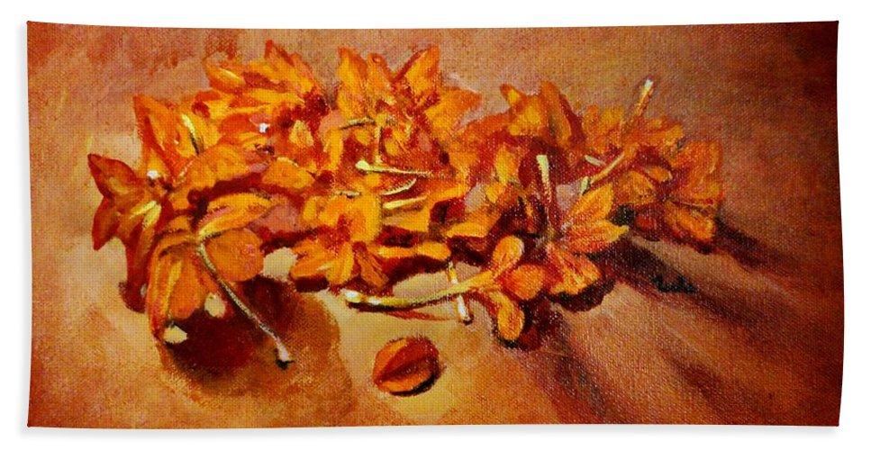Usha Beach Towel featuring the painting Pretty Little Orange Flowers - Kankaambaram by Usha Shantharam