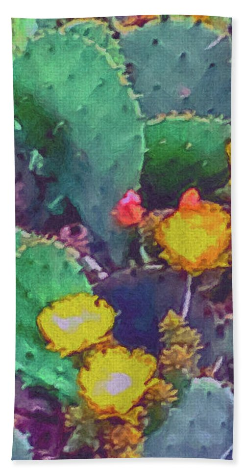 Prickly Pear Cactus 2 Beach Towel featuring the painting Prickly Pear Cactus 2 by Methune Hively