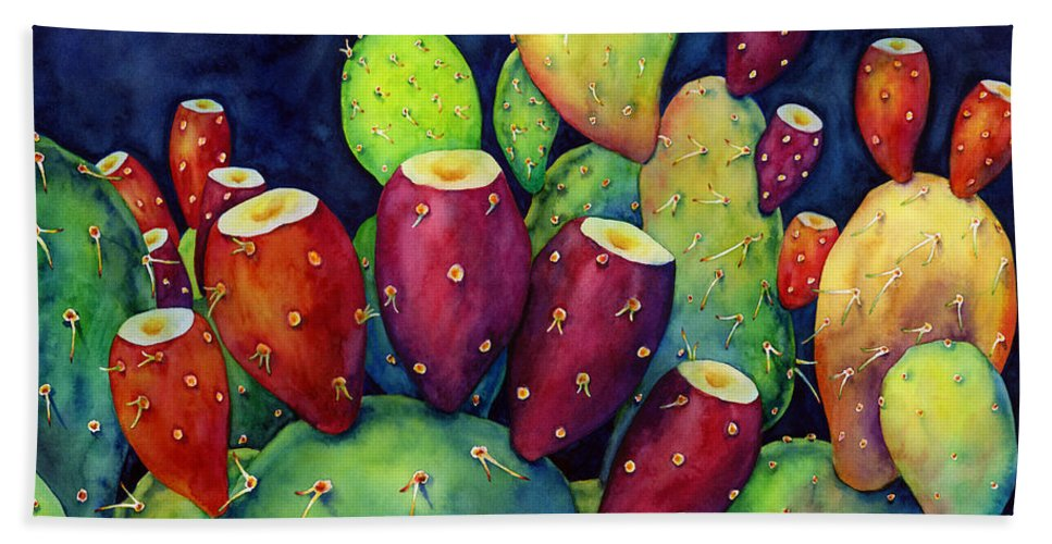 Cactus Beach Towel featuring the painting Prickly Pear by Hailey E Herrera