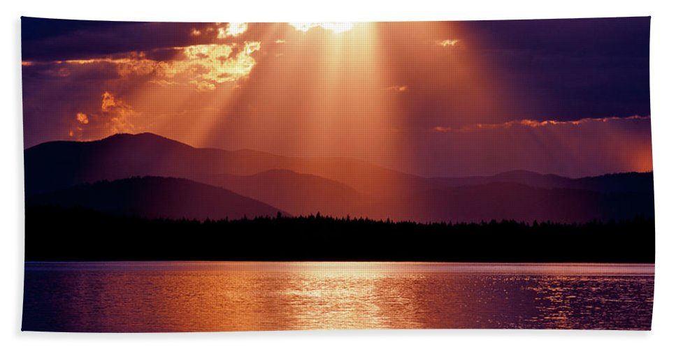 Sunset Beach Towel featuring the photograph Priest Lake Sunset Heavenly Light by Ed Riche