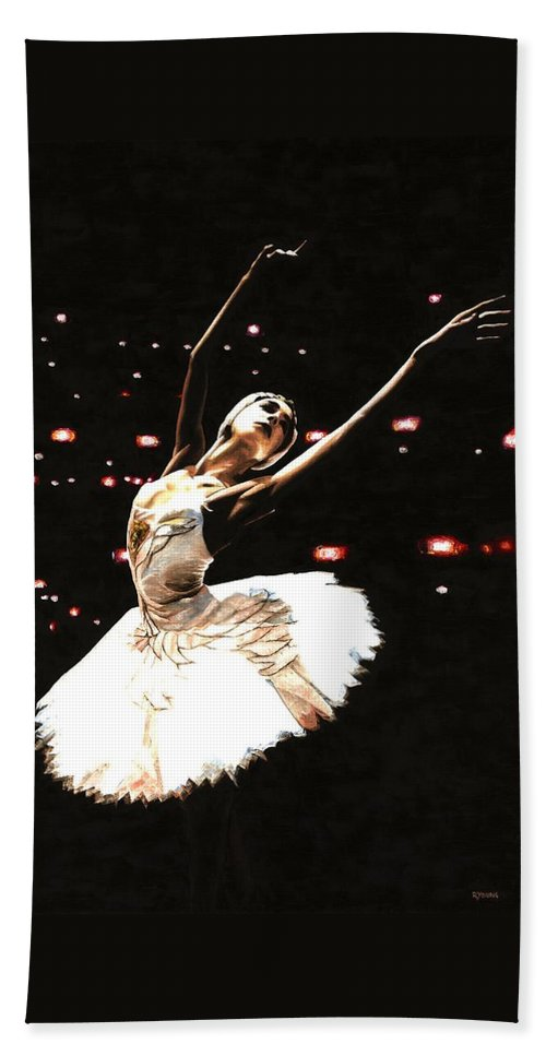 Prima Ballerina Beach Towel featuring the painting Prima Ballerina by Richard Young