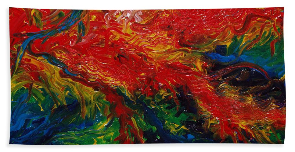 Acrylic Beach Towel featuring the painting Primary Abstract II Detail 2 by Nancy Mueller