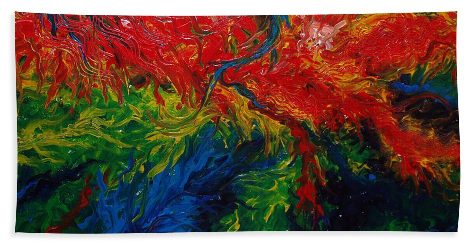 Acrylic Beach Towel featuring the painting Primary Abstract II by Nancy Mueller
