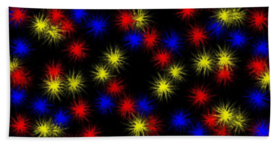 Clay Beach Towel featuring the digital art Primary Bursts Under Glass by Clayton Bruster