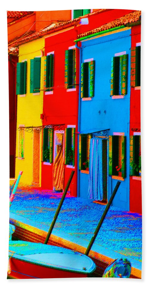 Burano Beach Towel featuring the photograph Primary Colors Of Burano by Donna Corless