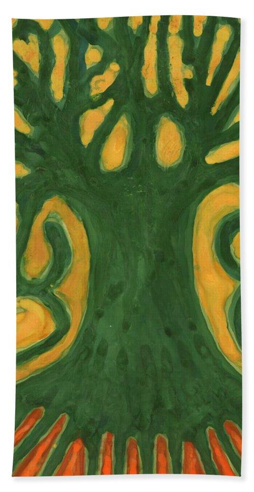 Colour Beach Towel featuring the painting Primitive Tree by Wojtek Kowalski