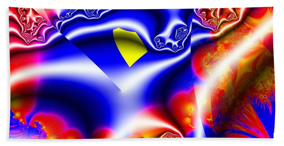 Fractal Beach Towel featuring the digital art Printed Crinkled Chiffon One by Ron Bissett