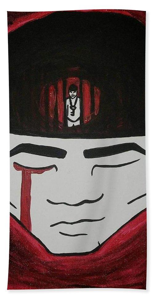 Prisoner Beach Towel featuring the painting Prisoner In My Mind by Elijah Stewart Jr