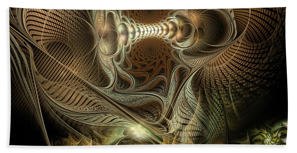 Abstract Beach Towel featuring the digital art Probing Deception by Casey Kotas