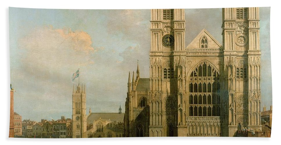 Canaletto Beach Towel featuring the painting Procession Of The Knights Of The Bath by Canaletto