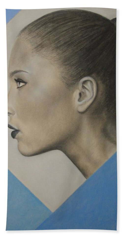 Woman Beach Towel featuring the painting Profile by Lynet McDonald