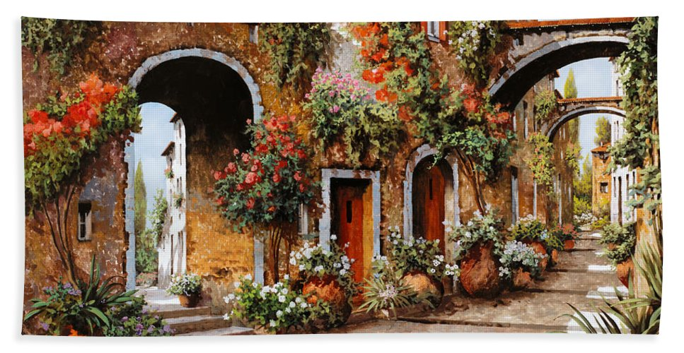 Landscape Beach Towel featuring the painting Profumi Di Paese by Guido Borelli
