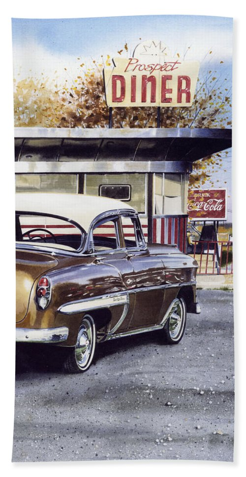 Diner Beach Towel featuring the painting Prospect Diner by Denny Bond