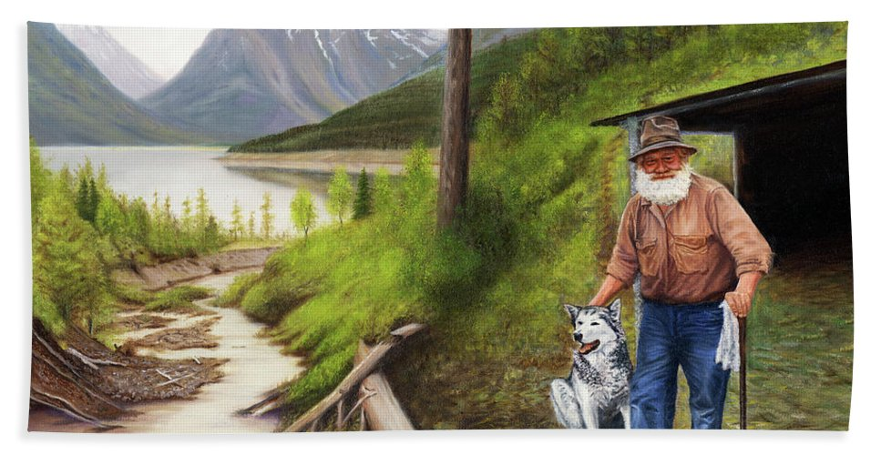 Prospector Painting Beach Towel featuring the painting Prospector And Best Friend by Guy C Lockwood
