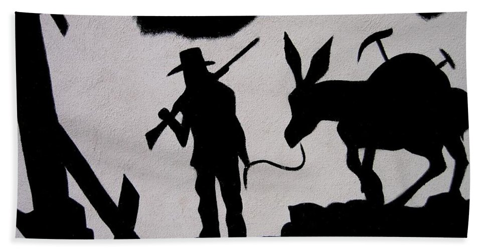 Prospector And Mule In Metal Tombstone Arizona 2004-2014 Beach Towel featuring the photograph Prospector And Mule In Metal Tombstone Arizona 2004-2014 by David Lee Guss