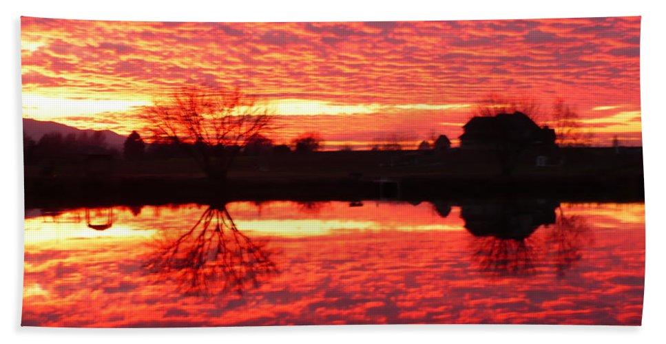 Orange Beach Towel featuring the photograph Dramatic Orange Sunset by Carol Groenen