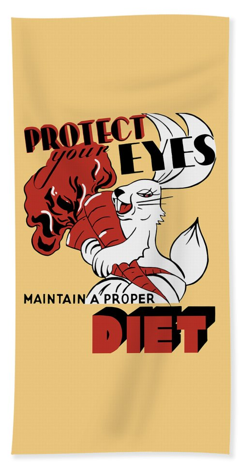 Wpa Beach Towel featuring the painting Protect Your Eyes - Maintain A Proper Diet by War Is Hell Store