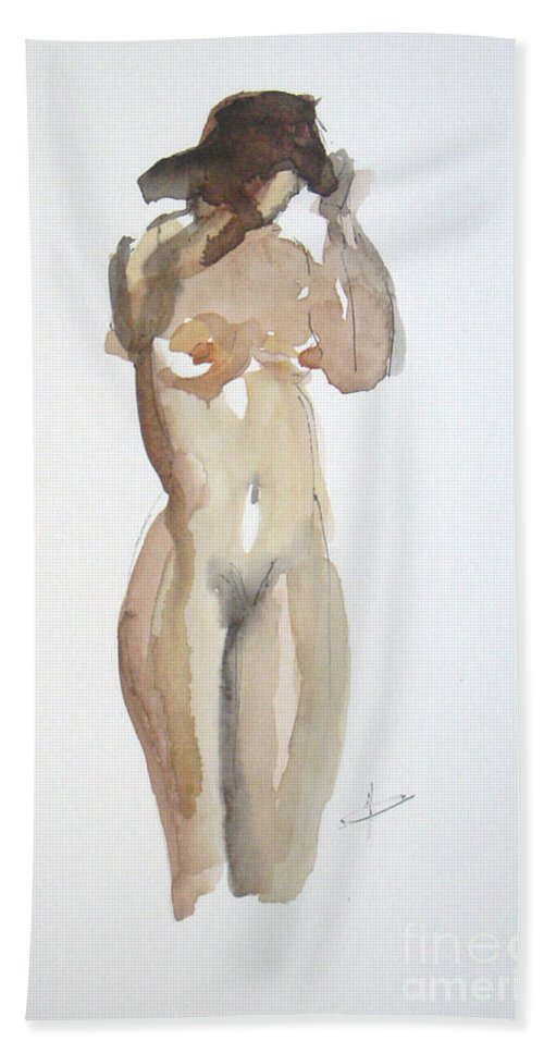 Nude Beach Towel featuring the painting Protect Yourself by Vesna Antic