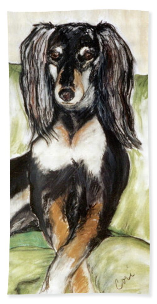 Dog Beach Towel featuring the drawing Proud Girl by Cori Solomon
