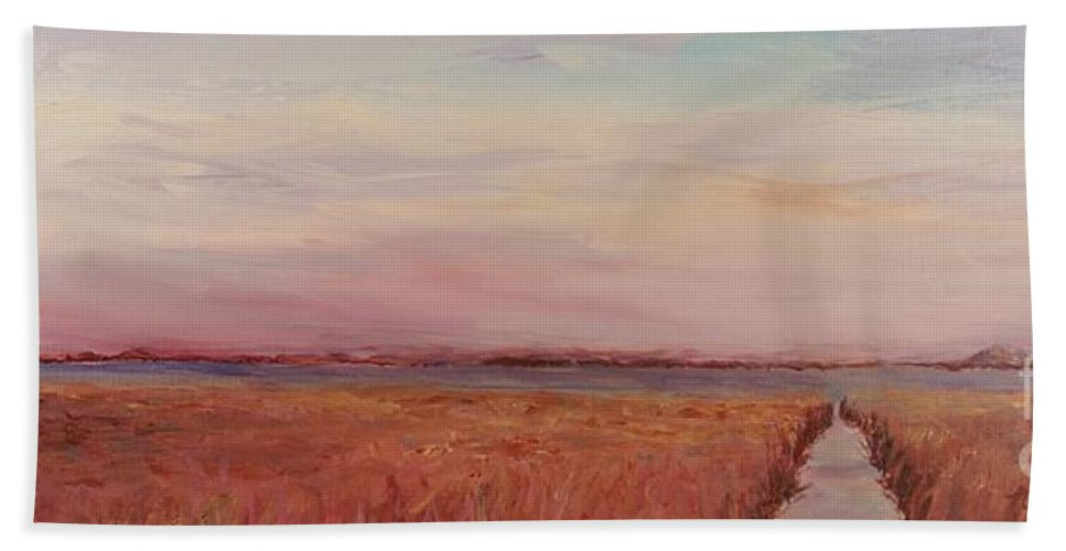 Landscape Beach Sheet featuring the painting Provence Camargue by Nadine Rippelmeyer