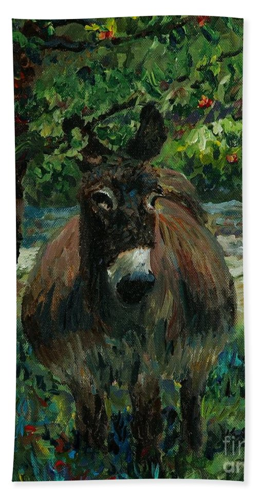 Donkey Beach Towel featuring the painting Provence Donkey by Nadine Rippelmeyer