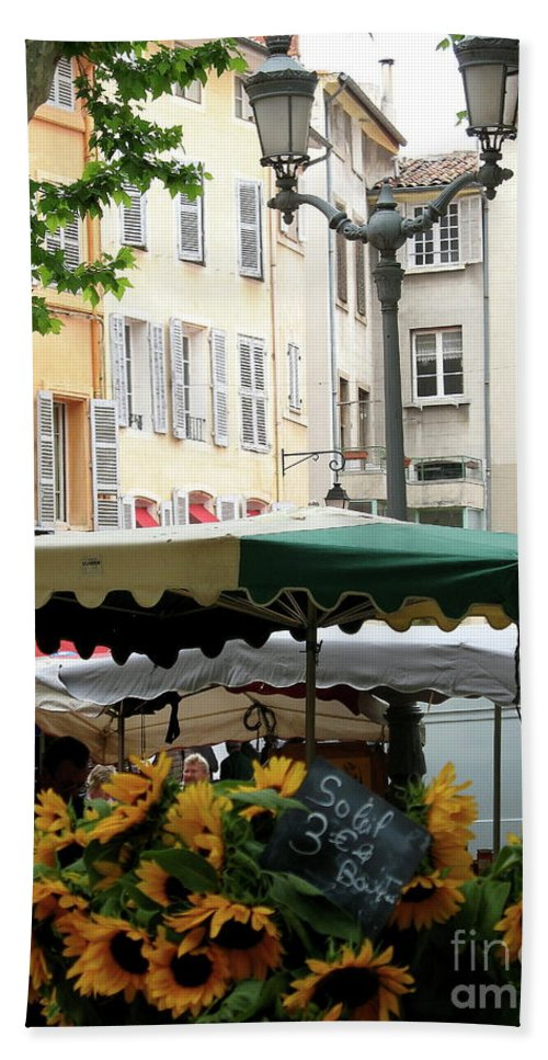 Market Beach Towel featuring the photograph Provence Market Day by Christiane Schulze Art And Photography