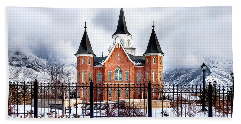 Lds Temple Beach Sheet Featuring The Photograph Provo City Center Large Canvas Art
