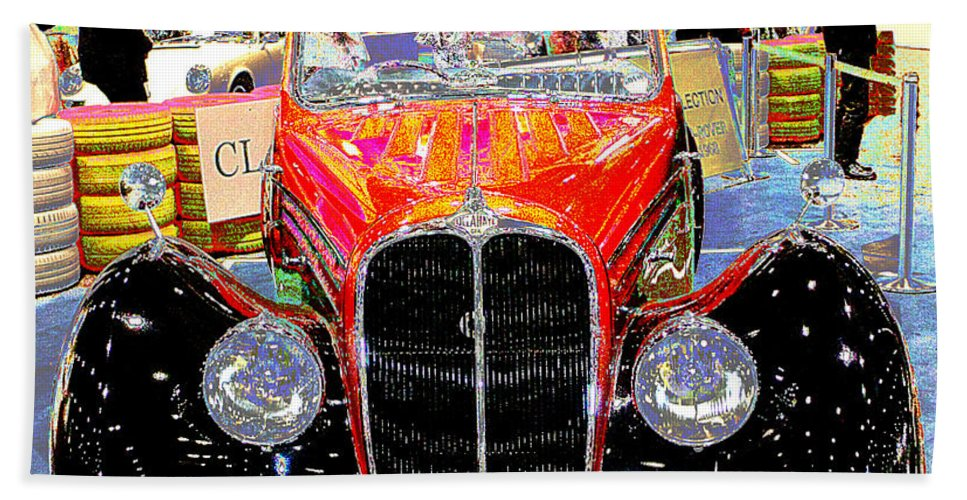 Psychedelic Beach Towel featuring the photograph Psychedelic 1947 Delahaye 135m Letourner Et Marchand Cabriolet by Peter Lloyd