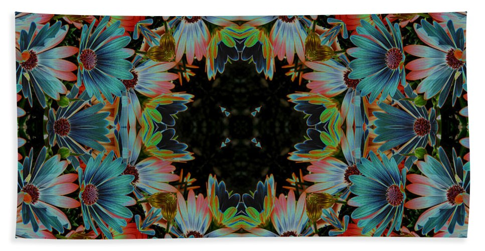 Daisy Beach Towel featuring the digital art Psychedelic Daisies by Smilin Eyes Treasures