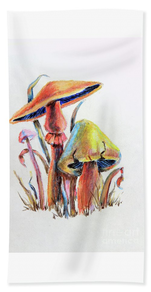 Mushrooms Beach Towel featuring the painting Psychedelic Mushrooms by Pattie Calfy