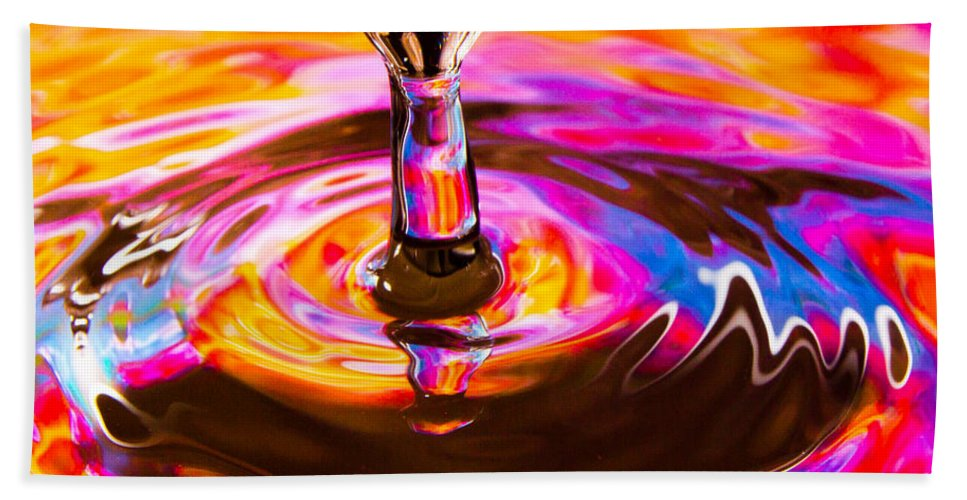 Abstract Beach Towel featuring the photograph Psychedelic Water Drop by SR Green