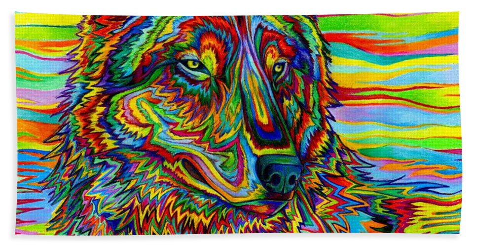 Psychedelic Beach Towel featuring the drawing Psychedelic Wolf by Rebecca Wang