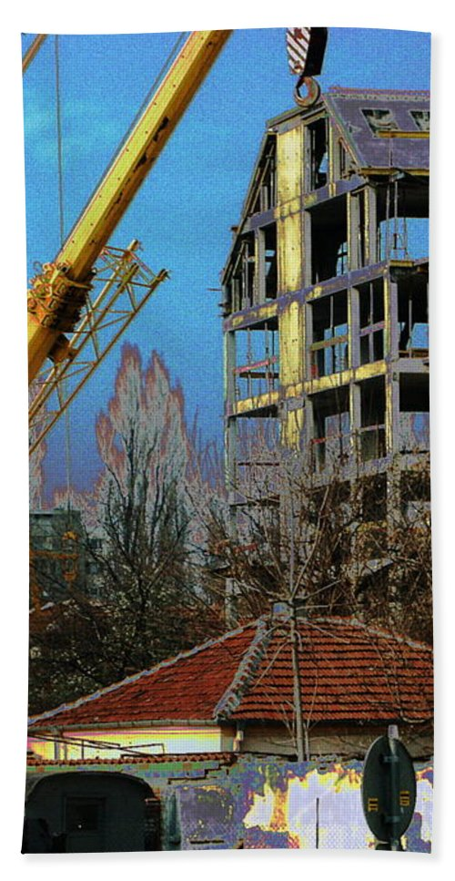 Plovdiv Rebuilding Beach Towel featuring the digital art Psycho Plovdiv Crane by John A B Lansdown