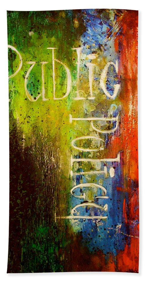 Abstract Art Beach Towel featuring the painting Public Policy by Laura Pierre-Louis