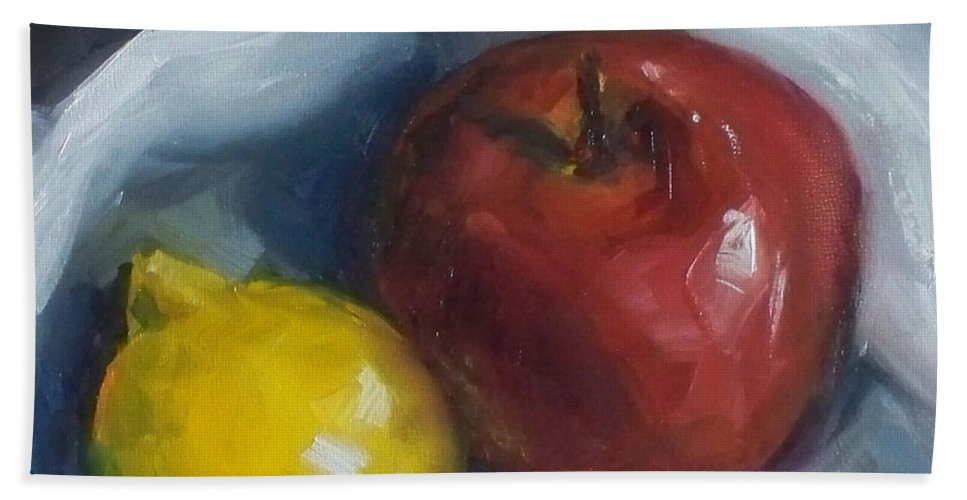 Apple Beach Towel featuring the painting Pucker Up by Kristine Kainer