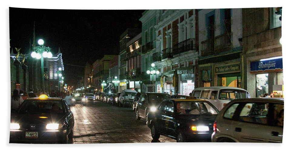 Mexico Beach Towel featuring the photograph Puebla At Night 1 by Lee Santa