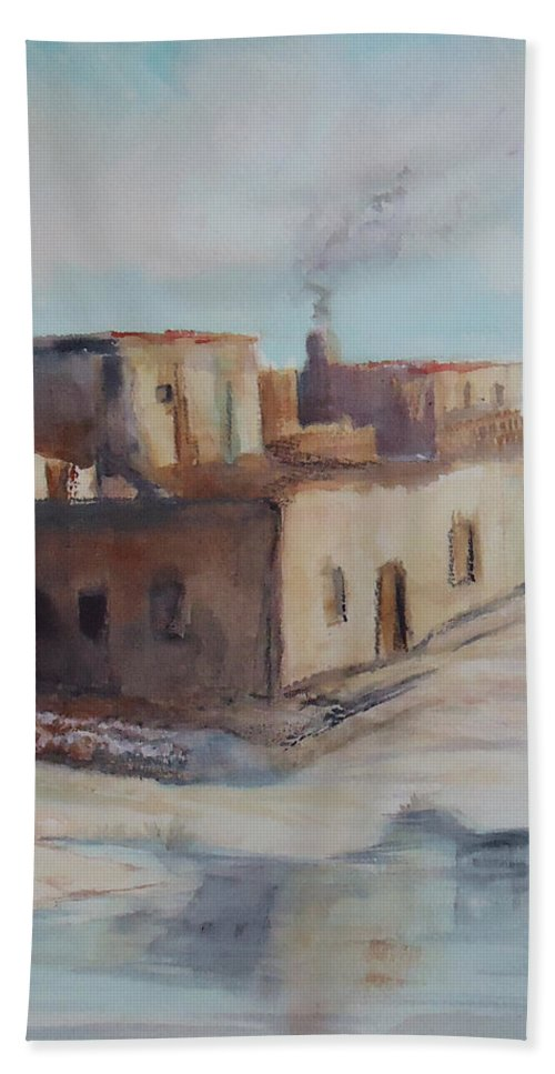 Pueblo Beach Towel featuring the painting Pueblo After The Rain by Charme Curtin