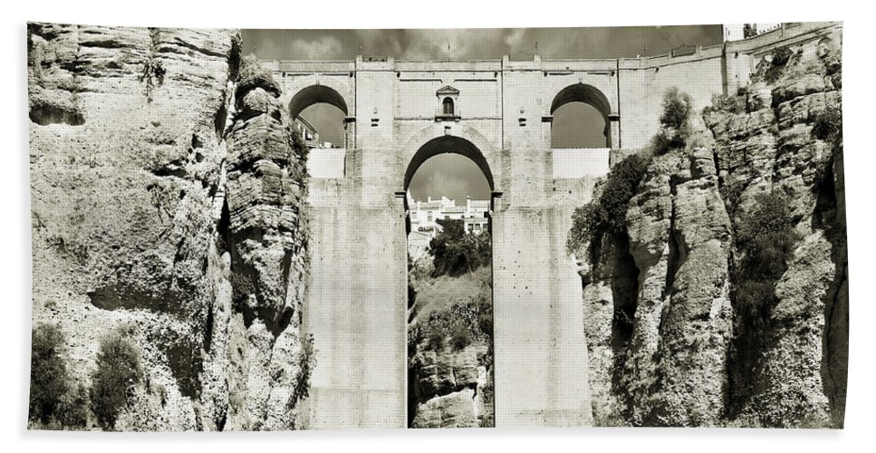 Bridge Beach Sheet featuring the photograph Puente Nuevo Tajo De Ronda Andalucia Spain Europe by Mal Bray