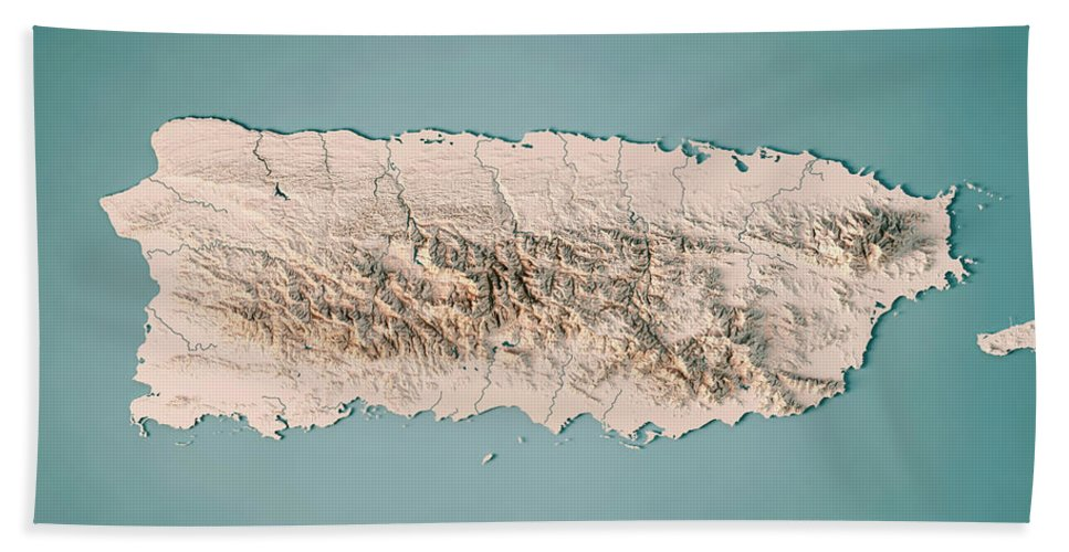 Puerto Rico 3d Render Topographic Map Neutral Beach Sheet for Sale