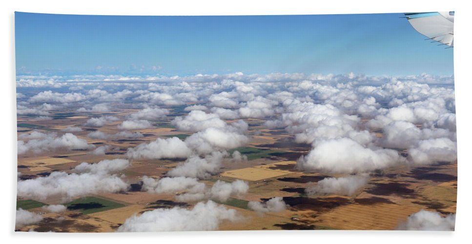 Puffy Clouds Beach Towel featuring the photograph Puffy Clouds 3772 by Jack Schultz