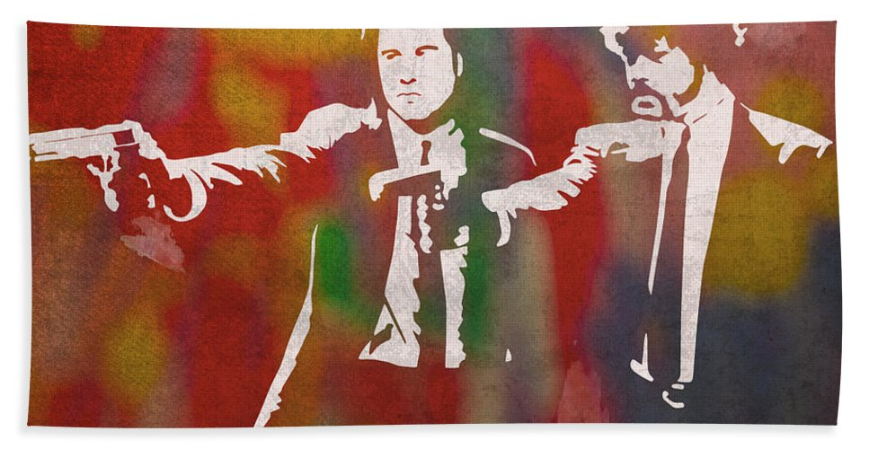 Pulp Fiction Beach Towel featuring the mixed media Pulp Fiction Movie Minimal Silhouette Watercolor Painting by Design Turnpike