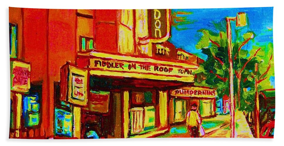 Pumperniks Beach Towel featuring the painting Pumperniks And The Snowdon Theatre by Carole Spandau