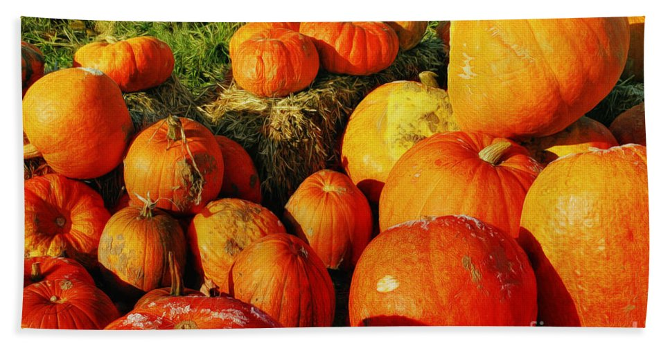 Photo Beach Towel featuring the photograph Pumpkin Meeting by Jutta Maria Pusl