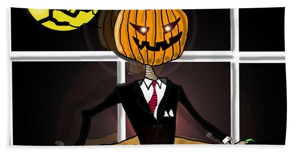 Halloween Card Beach Towel featuring the painting Pumpkin Pie by Kev Moore