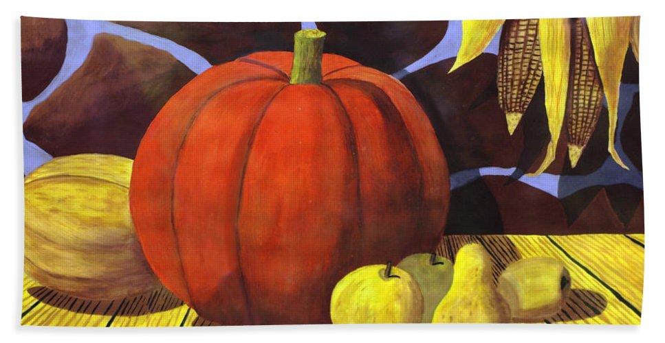 2d Beach Towel featuring the painting Pumpkin Still Life - Homage To Jon Gnagy by Brian Wallace