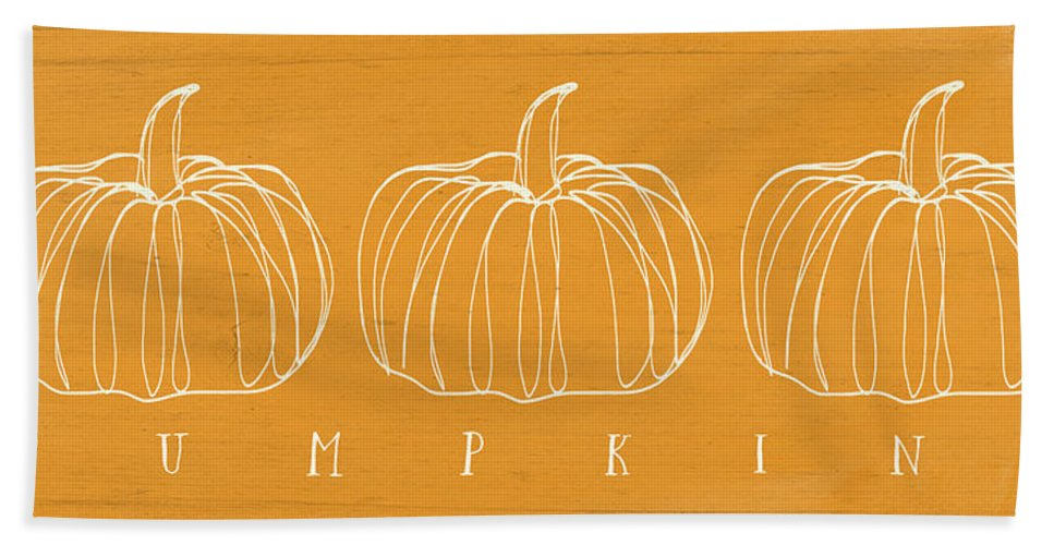 Pumpkins Beach Towel featuring the mixed media Pumpkins- Art By Linda Woods by Linda Woods