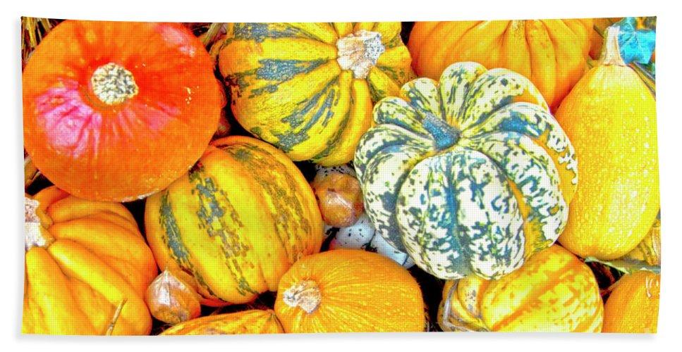 Thanksgiving Beach Towel featuring the photograph Pumpkins by Heiko Koehrer-Wagner