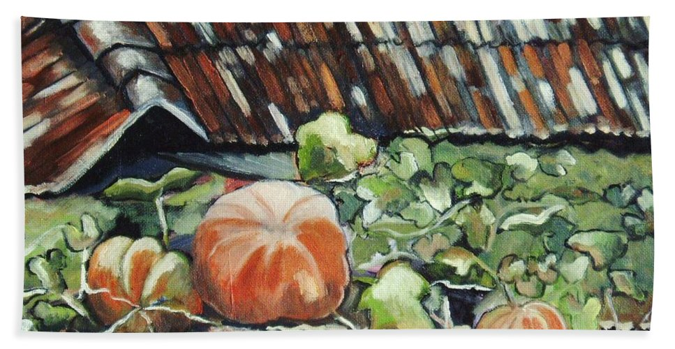 Pumpkin Paintings Beach Sheet featuring the painting Pumpkins On Roof by Seon-Jeong Kim