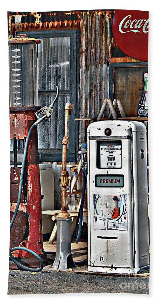 Old Gas Station Beach Towel featuring the photograph Pumps by Lee Craig